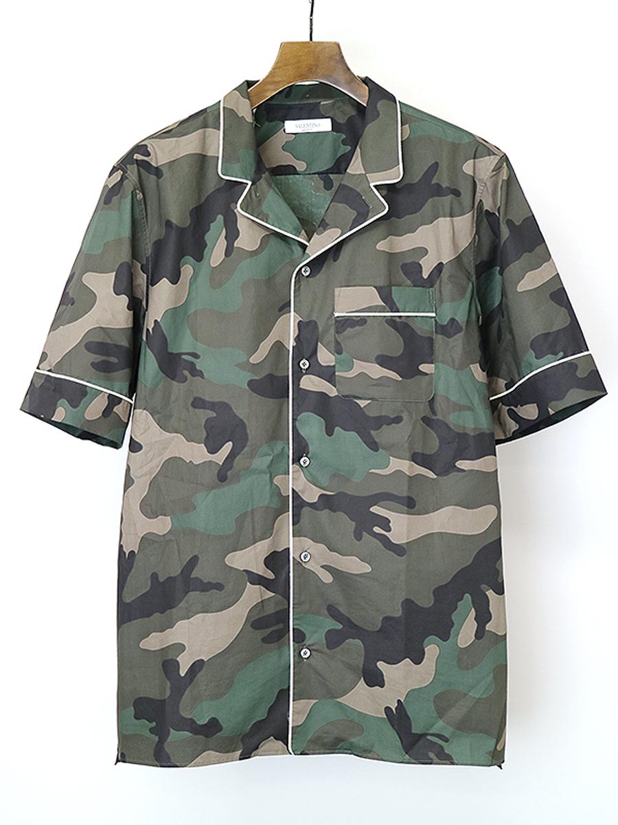 バックプリントオープンカラーカモフラショートスリーブシャツ
