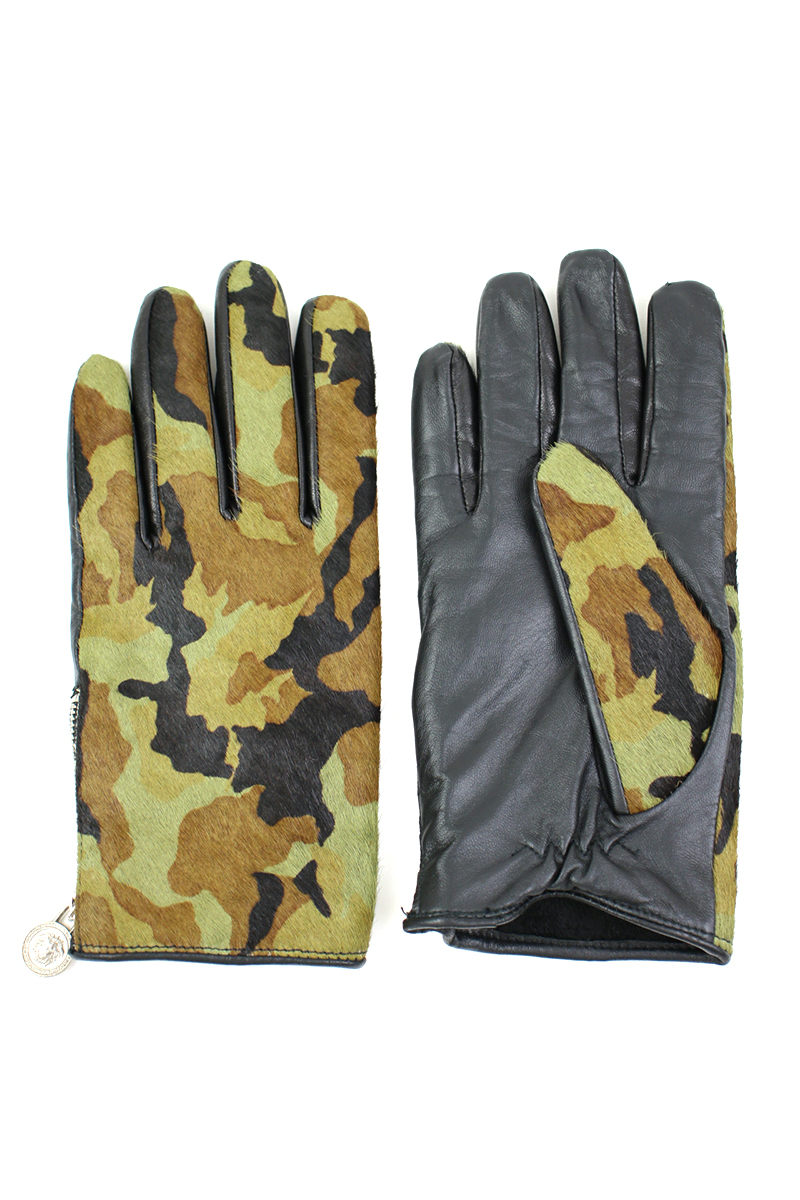 ハラコ迷彩レザーグローブ 手袋