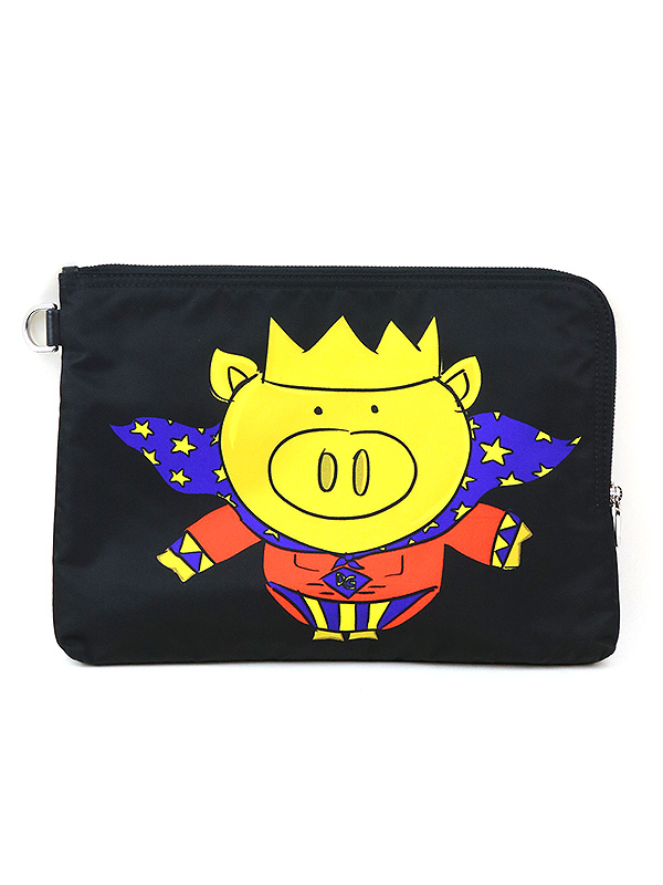 Pig Crown black medium pouch プリントナイロンクラッチバッグ