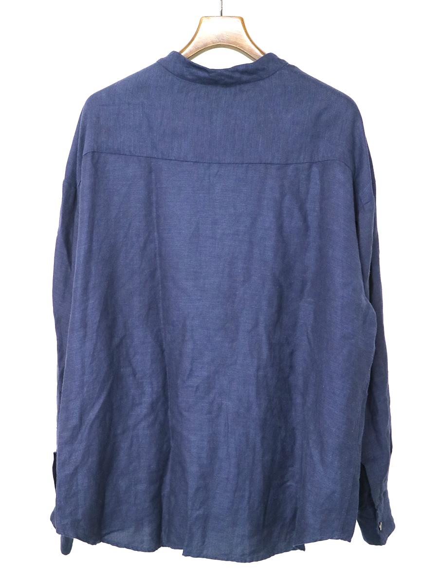 リネンヴィスコースノーカラーシャツ