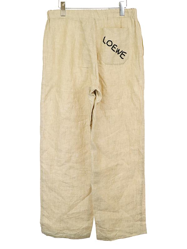 バッグロゴ刺繍リネンイージーパンツ