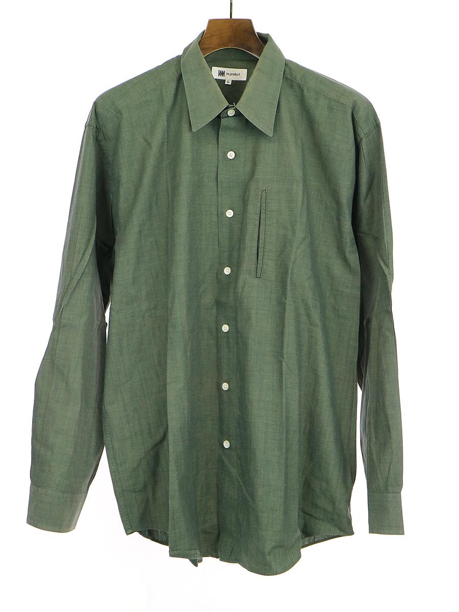デザインポケットコットン長袖シャツ