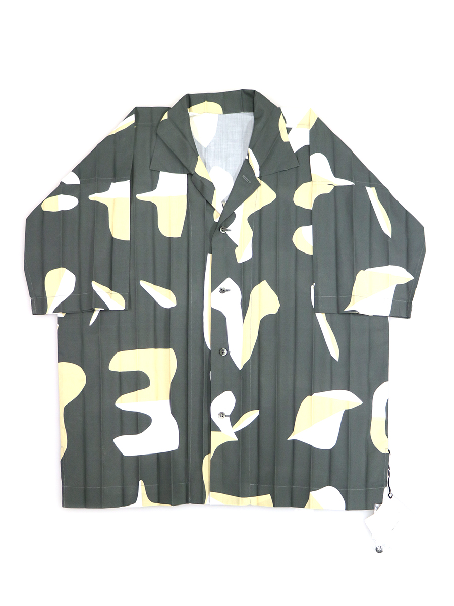 Edge Print Shirt ショートスリーブプリーツシャツ