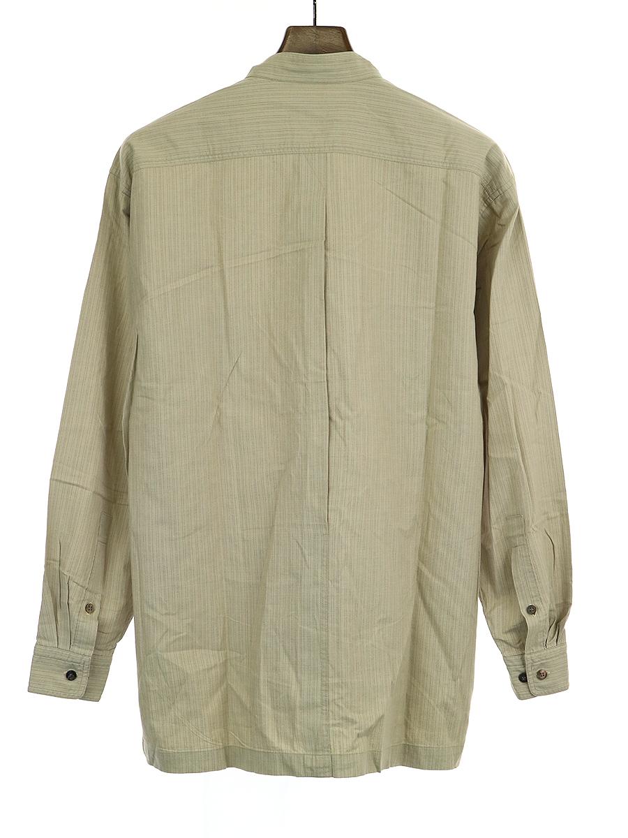 ダブルポケットストライプバンドカラーシャツ