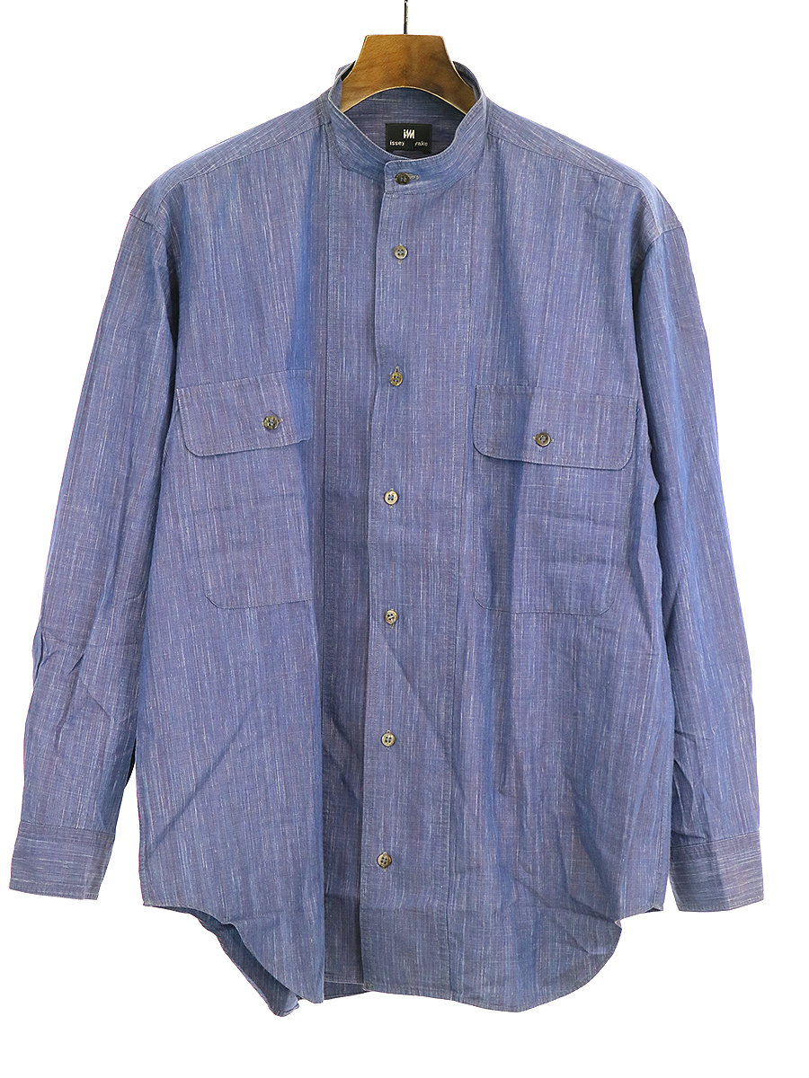 ダブルポケットバンドカラーシャツ