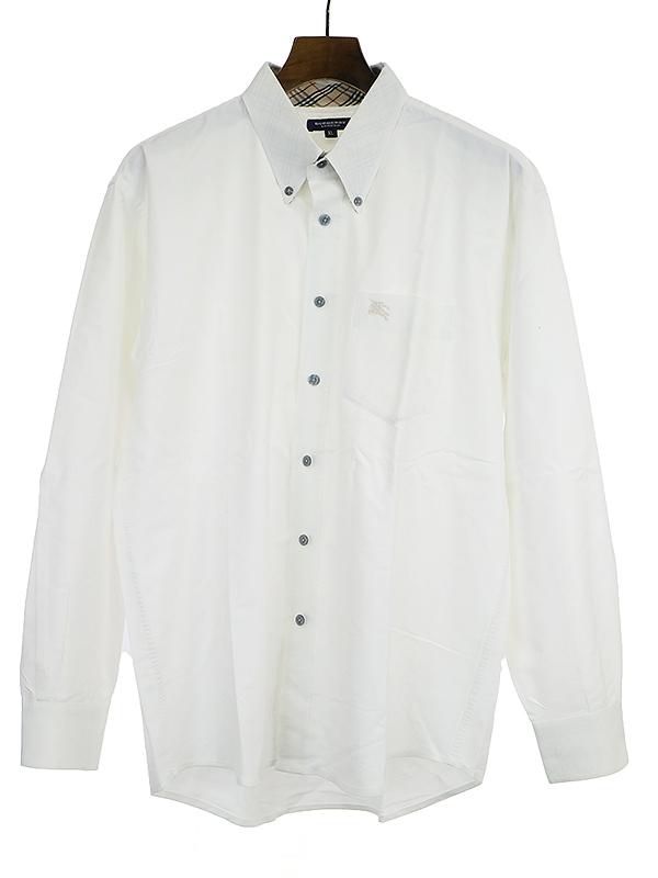 襟ノバチェック柄オックスフォードシャツ