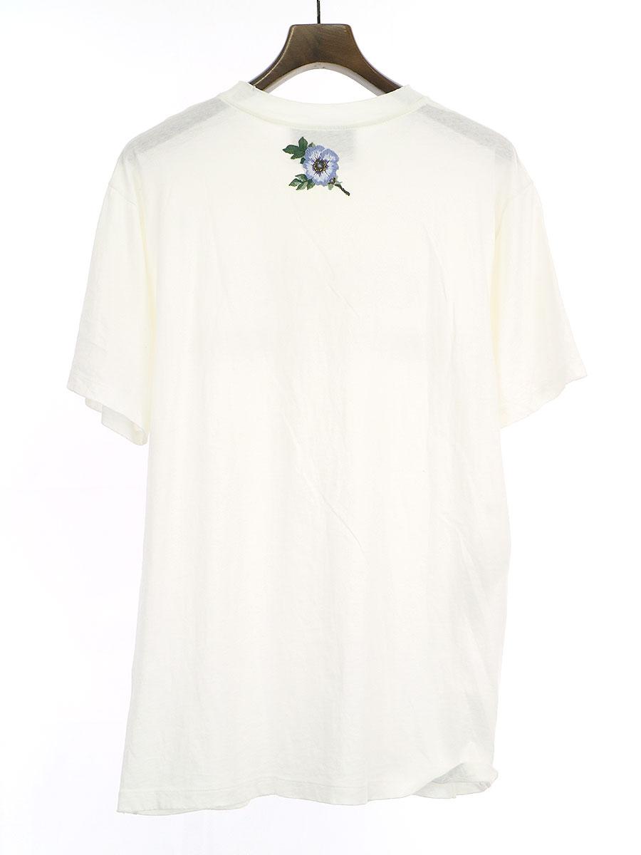フラワーアップリケヴィンテージ加工オールドロゴTシャツ
