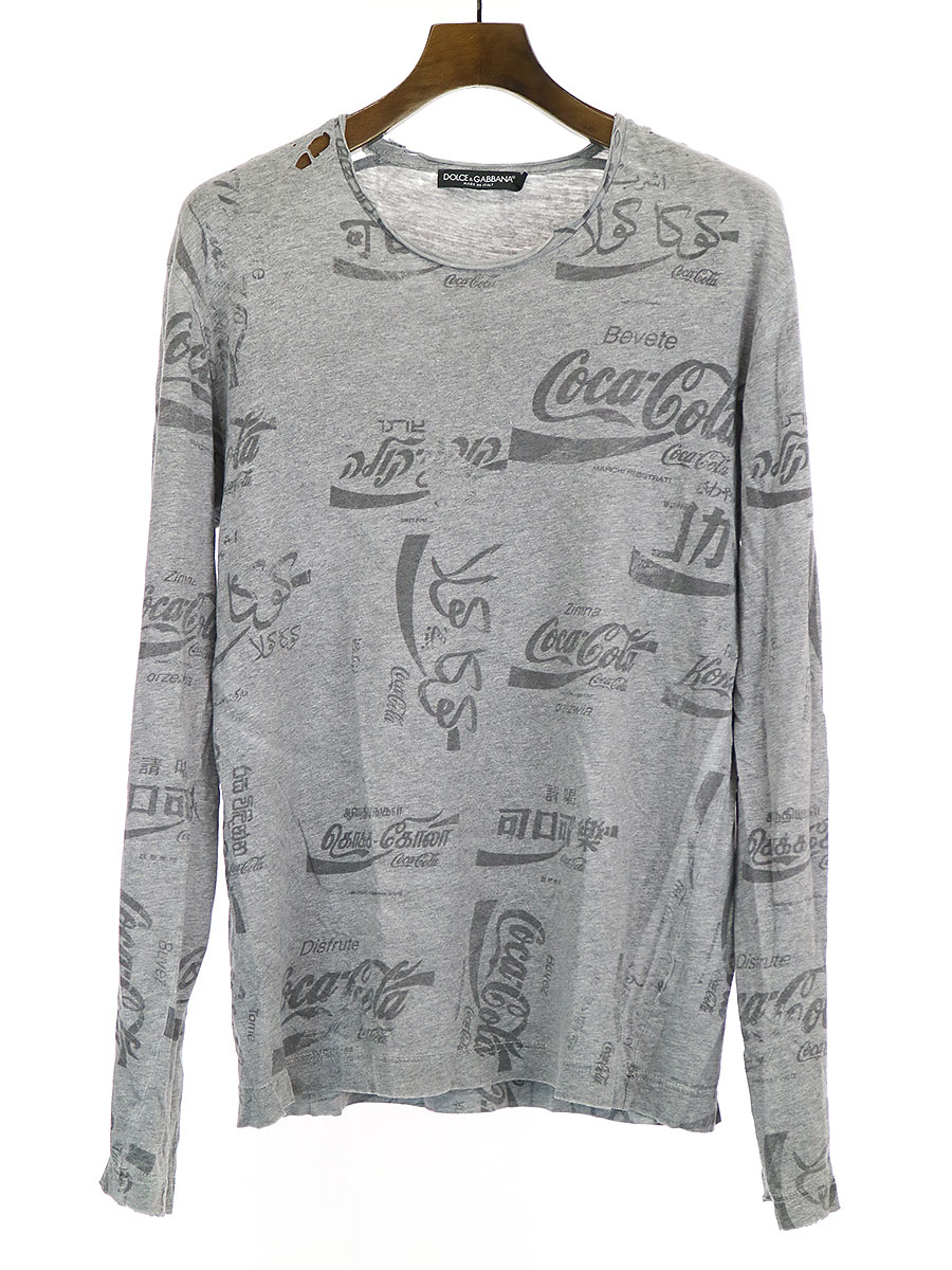 コーラマルチプリントクラッシュ加工L/S Tシャツ
