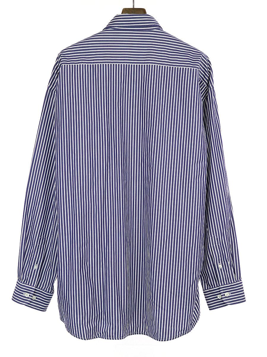 ポケットロゴ刺繍オーバーサイズストライプシャツ