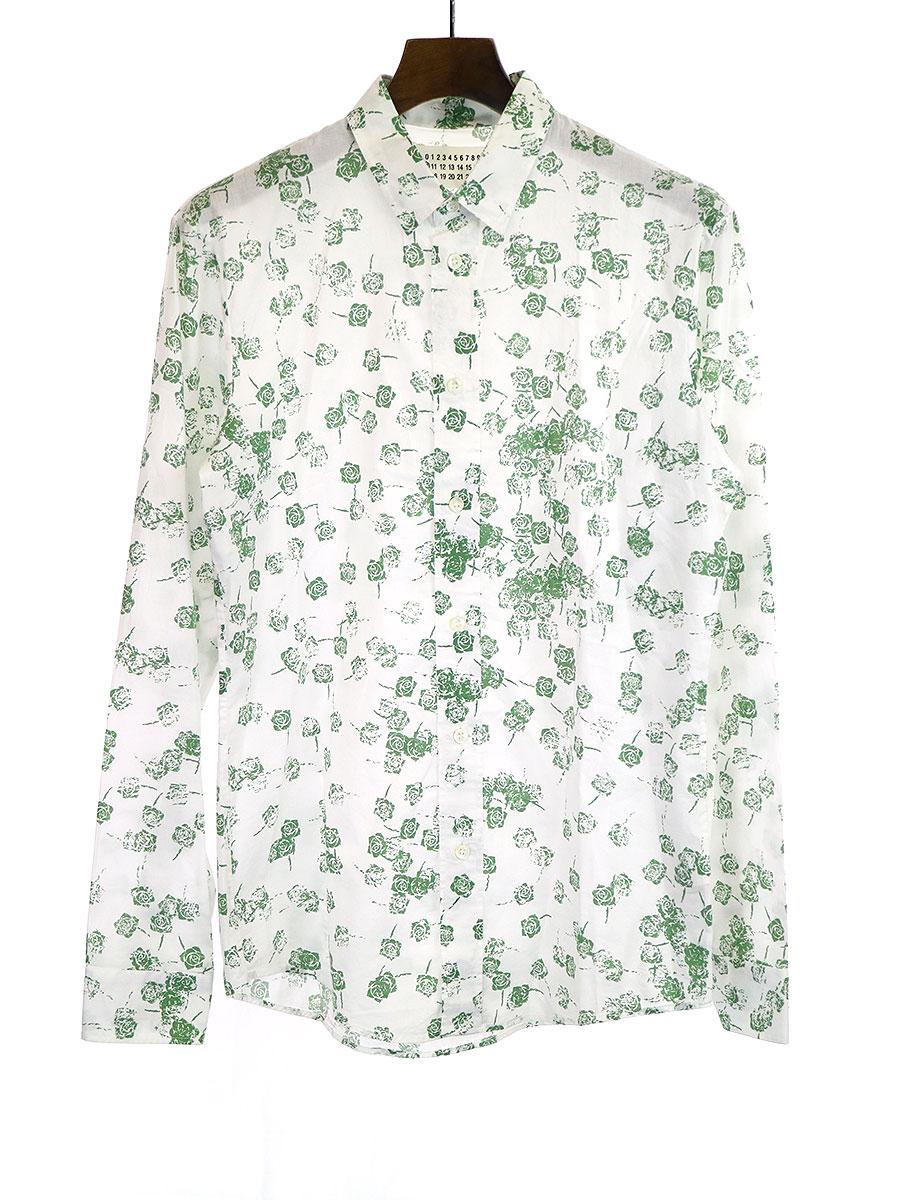 ローズプリントレギュラーカラーシャツ