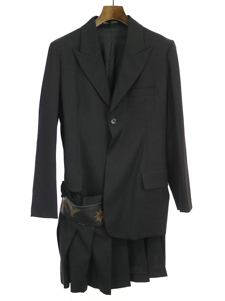LOOK6 モノグラムレザーコンビスカートドッキングジャケット