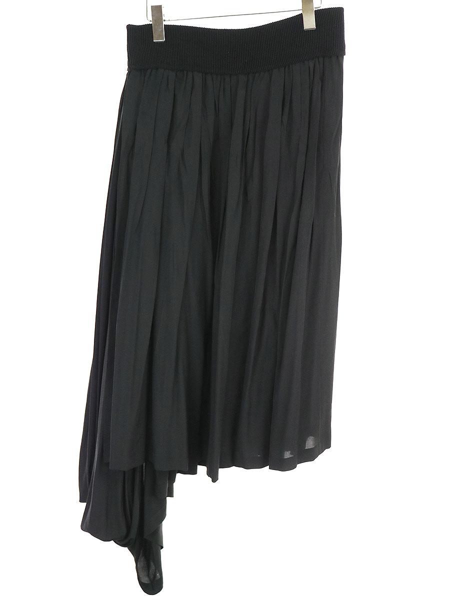 アシンメトリーデザインプリーツシルクラップスカート