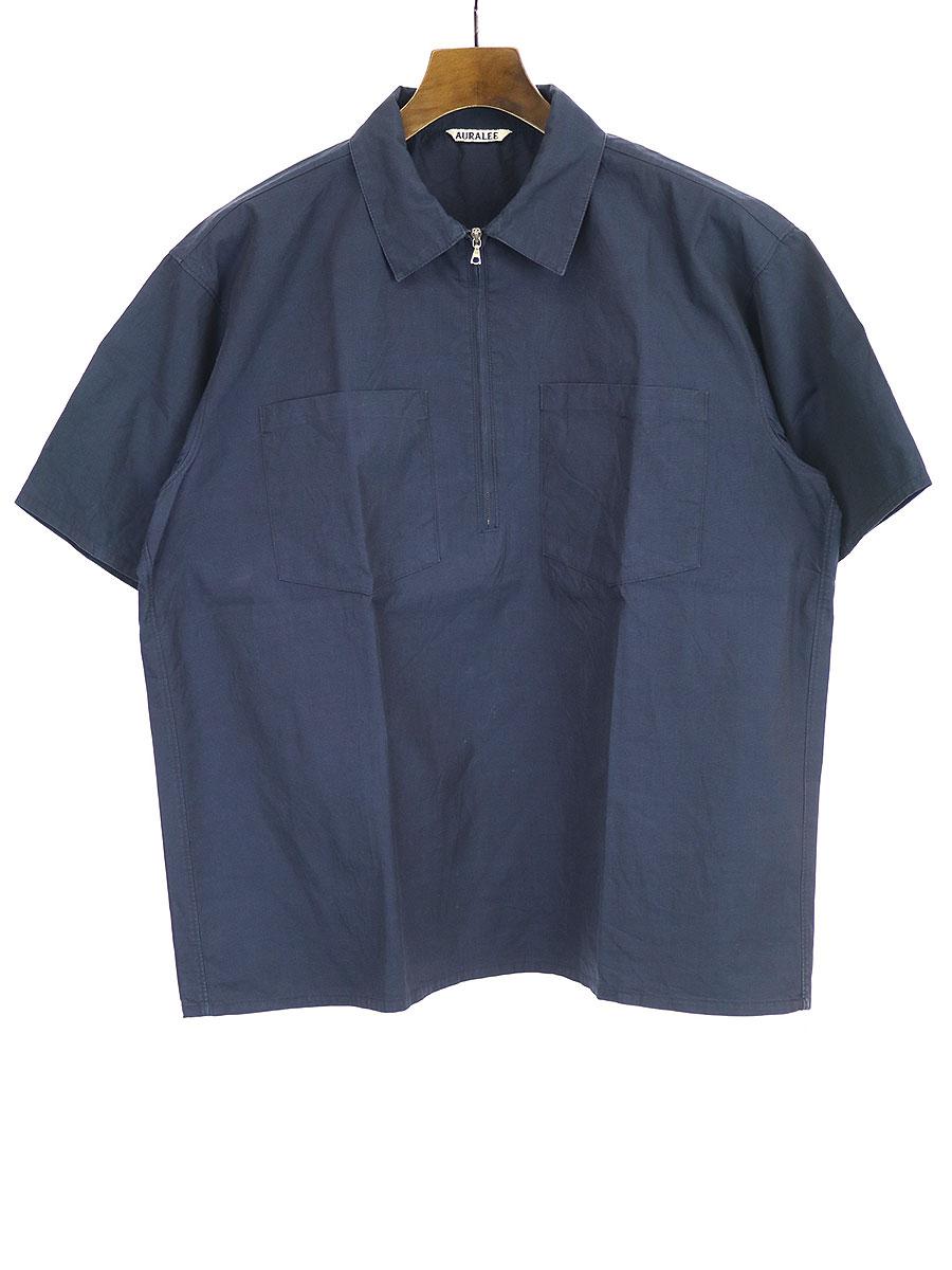 HIGH COUNT FINX CHAMBRAY SHIRT ハーフジップシャツ