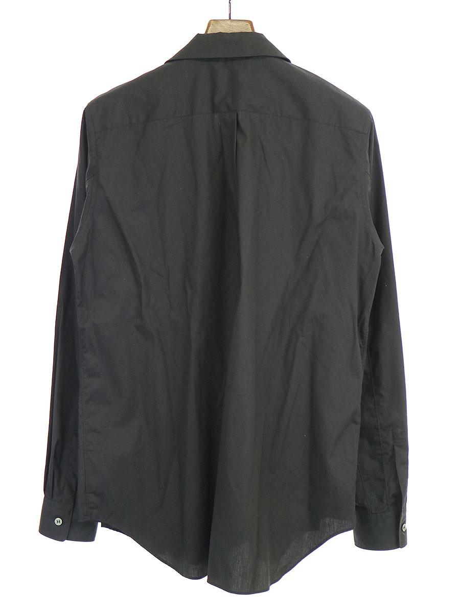 ラウンドカラーフロントプリーツコットンブロードシャツ