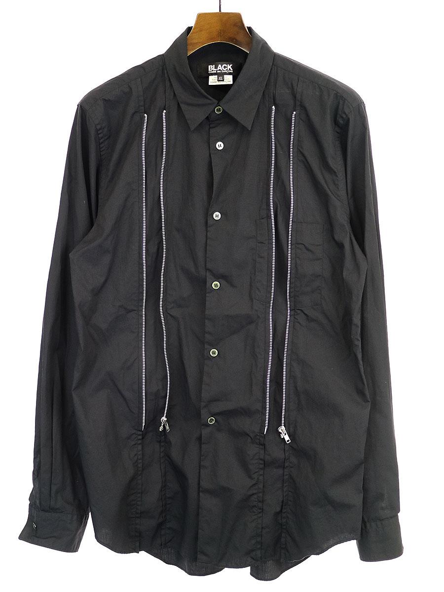 ジップデザインコットンブロードシャツ