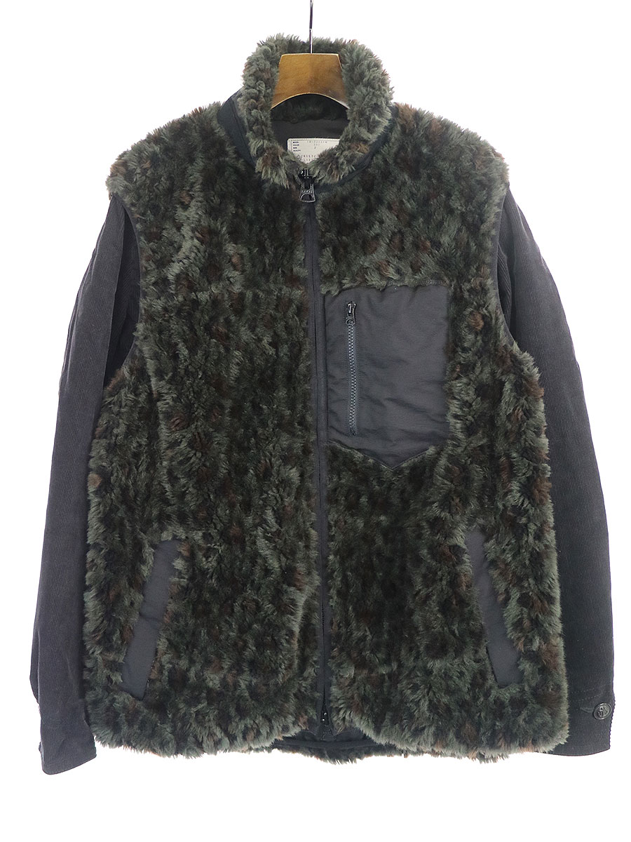 Faux Fur Mixed Media Jacket レオパードフリース袖コーデュロイジャケット