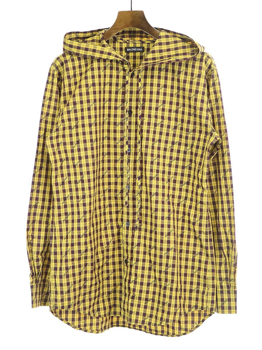 チェック柄ロゴプリントオーバーサイズフーデットシャツ