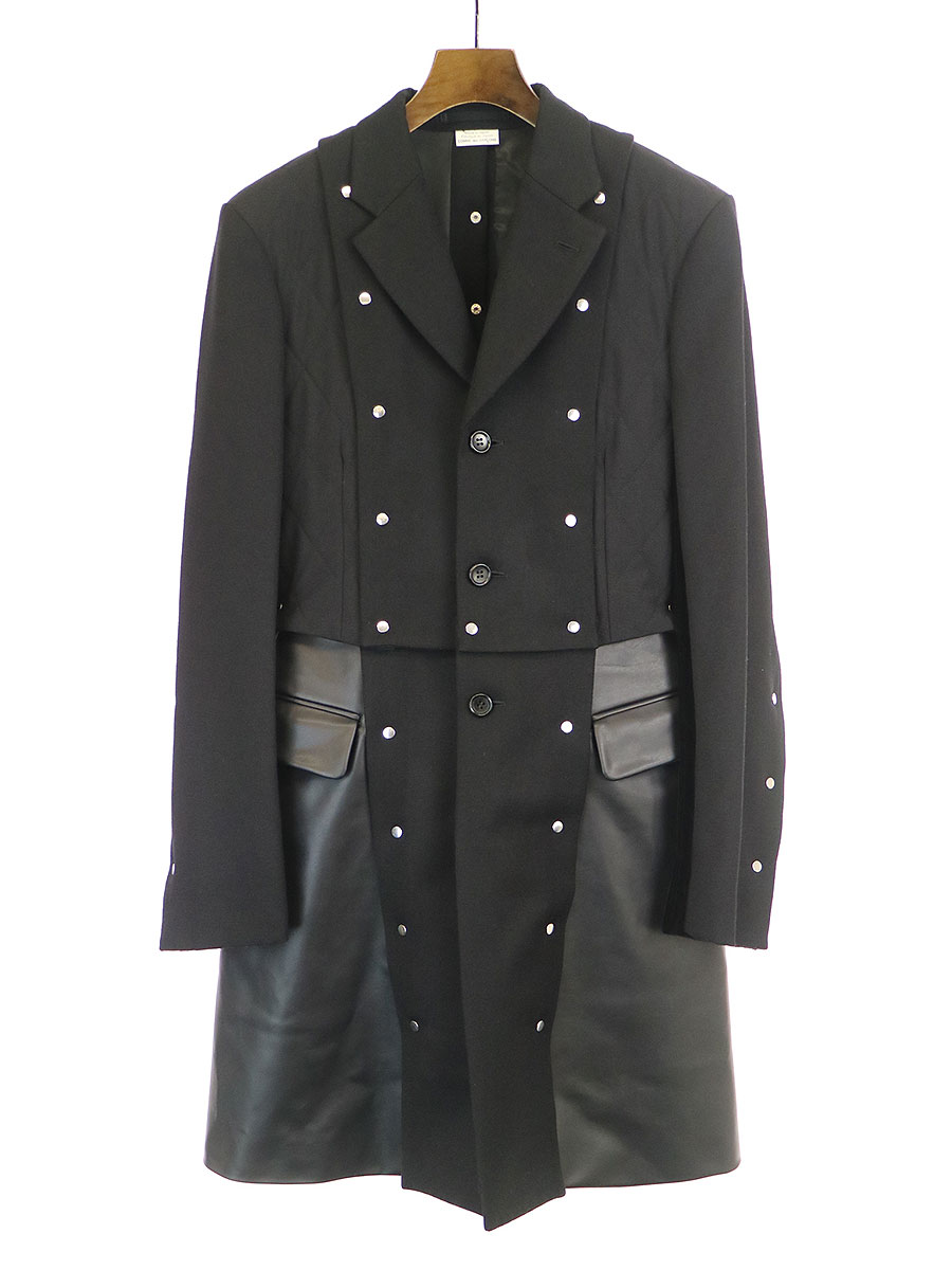 LOOK28 甲冑スタッズフェイクレザー切替ロングジャケットコート