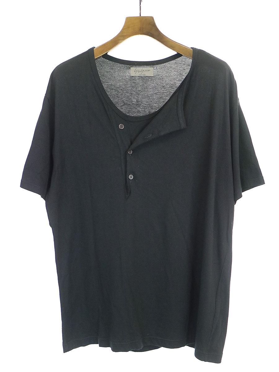 ドレープカラーヘンリーネックTシャツ