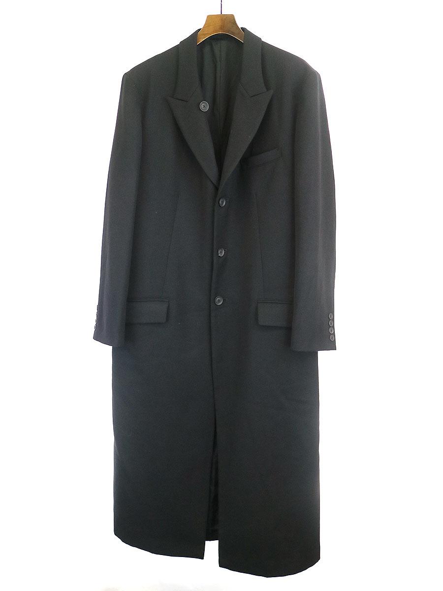 LOOK26 レイヤードアシンメトリーウールサージロングジャケット コート