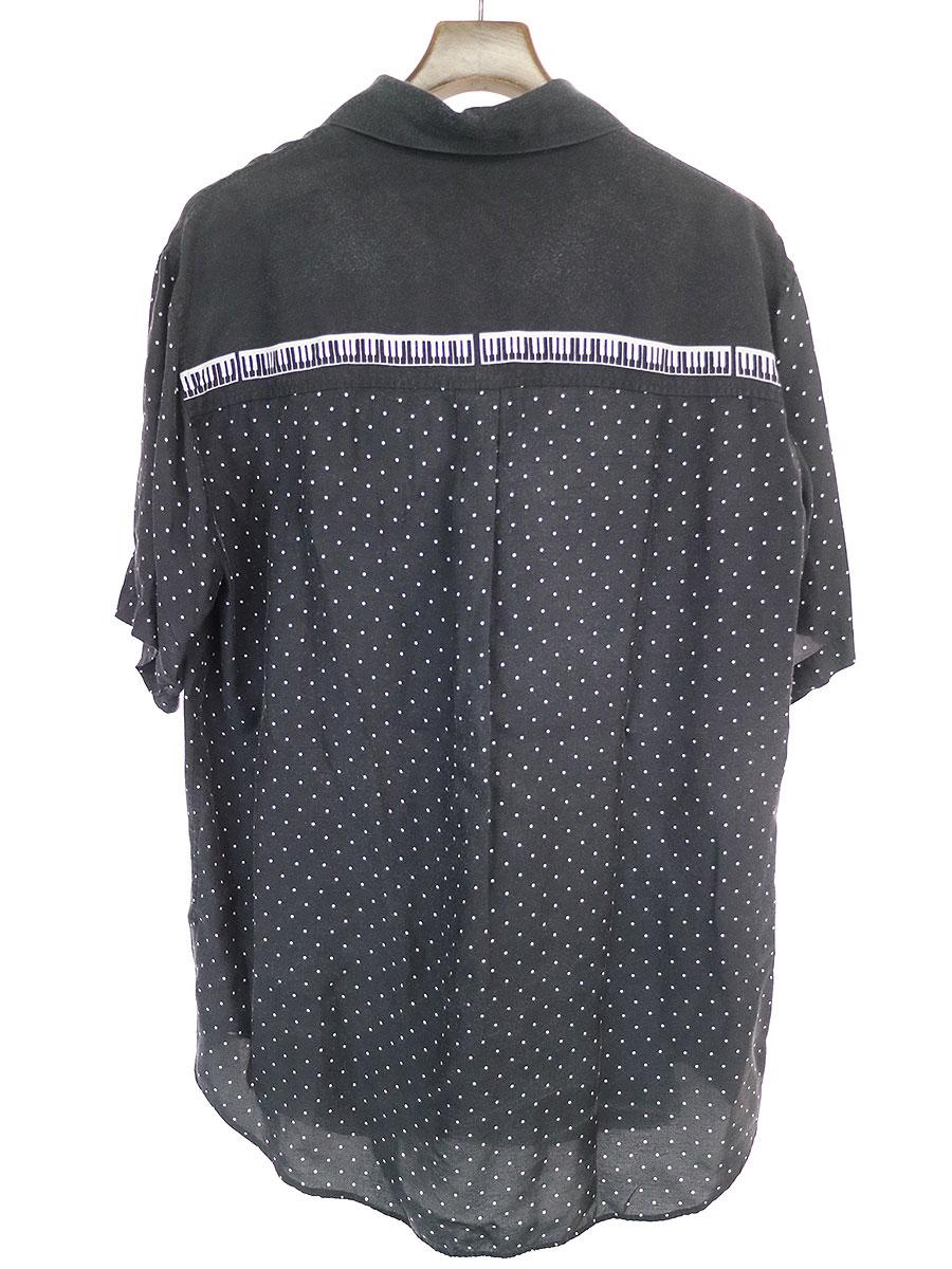 ピアノドットオープンカラーシャツ