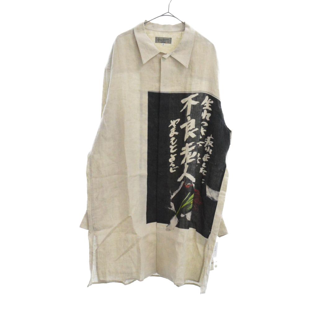 LOOK36 HH-B56-305 不良老人デザイナーメッセージプリント リネンロング丈シャツ