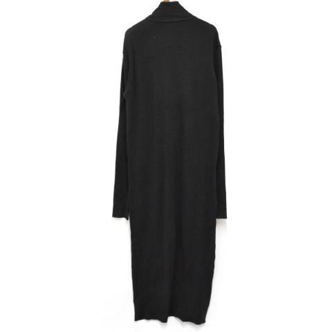 ハイネックハーフボタン サイドスリットボタンコットンワンピース ドレス HV-T15-074
