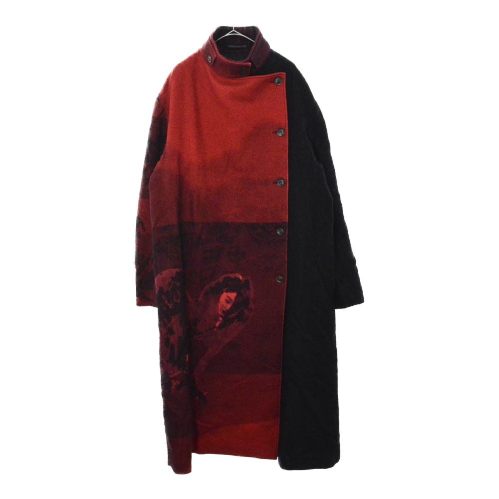LOOK36 赤フラノ スタンドカラーダブルウールロングコート