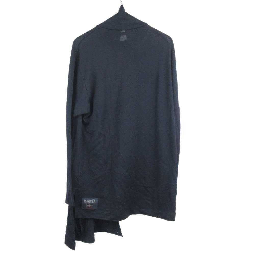 ウォッシャブルウール天竺 斜め接ぎ長袖 ウール混長袖タートルカットソー