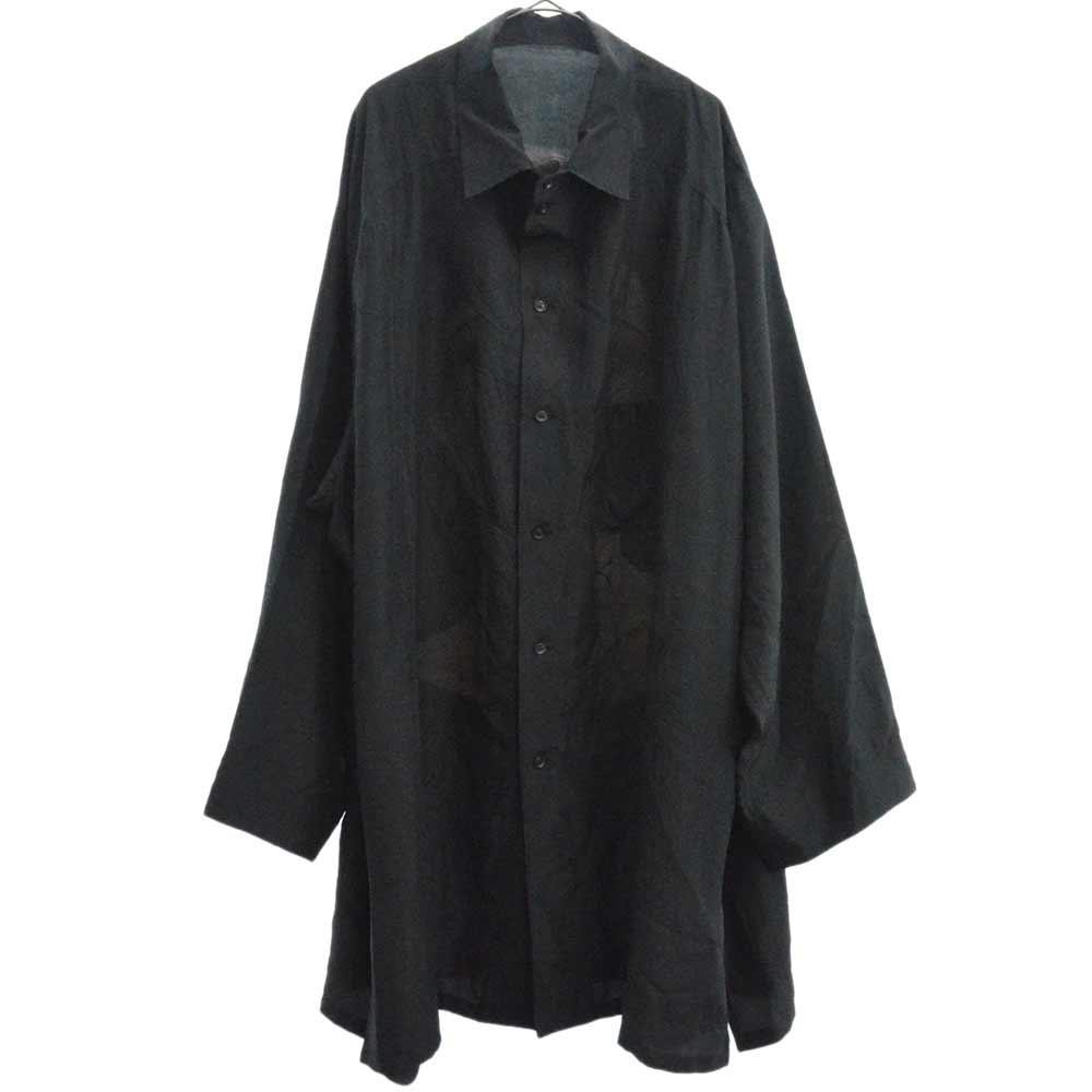 サイトウユウスケ美人画 変形ラグランシャツ指立てプリント ラグランシルク長袖シャツ HW-B95-424