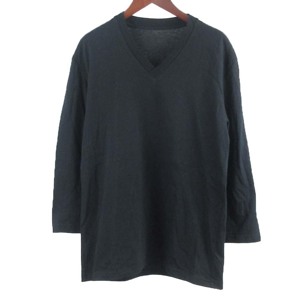 無地コットンVネック7分カットソー Tシャツ