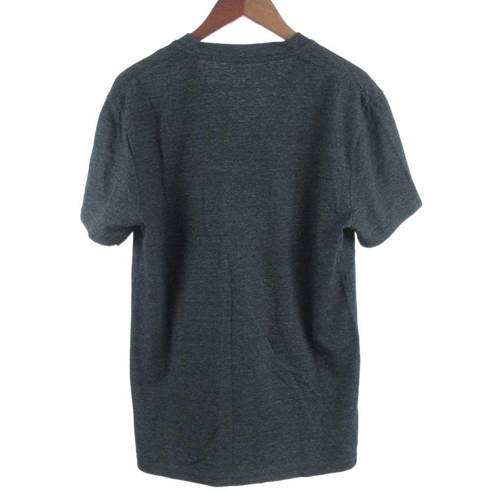FLOWERフロッキープリントVネック半袖カットソー Tシャツ