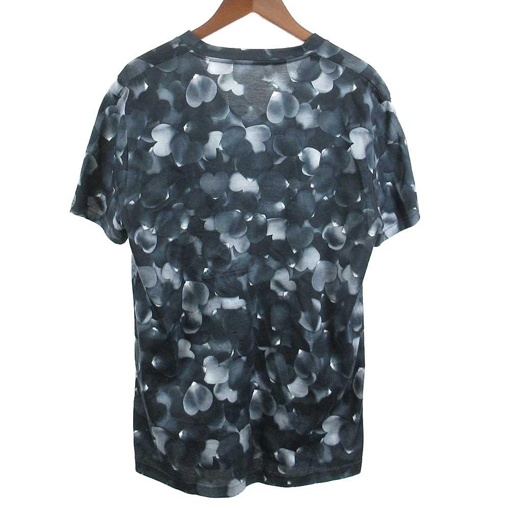 ハート総柄Vネックストレッチ入り半袖カットソー Tシャツ