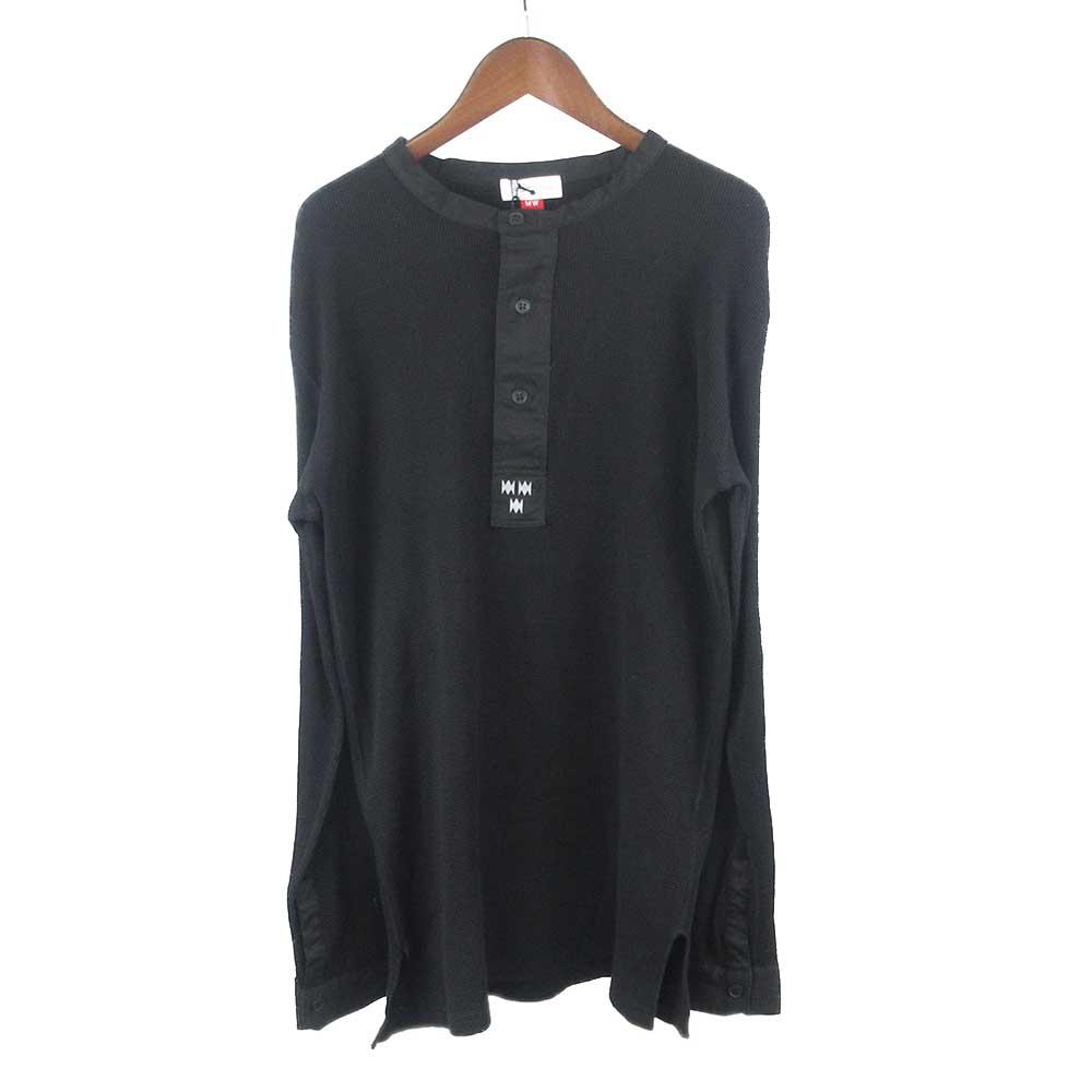 ヘンリーネックワッフル長袖カットソー Tシャツ
