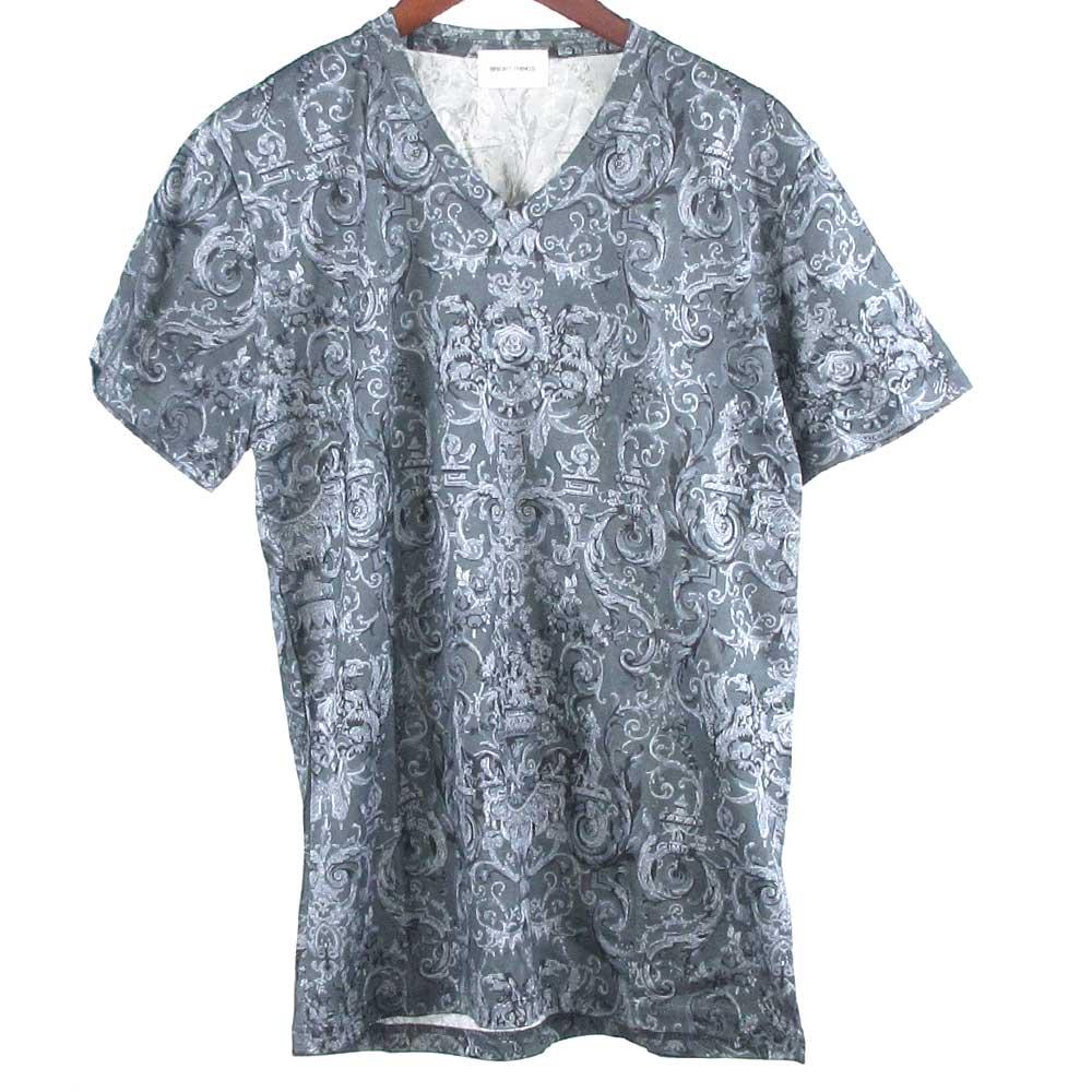 総柄Vネックストレッチ入り半袖カットソー Tシャツ