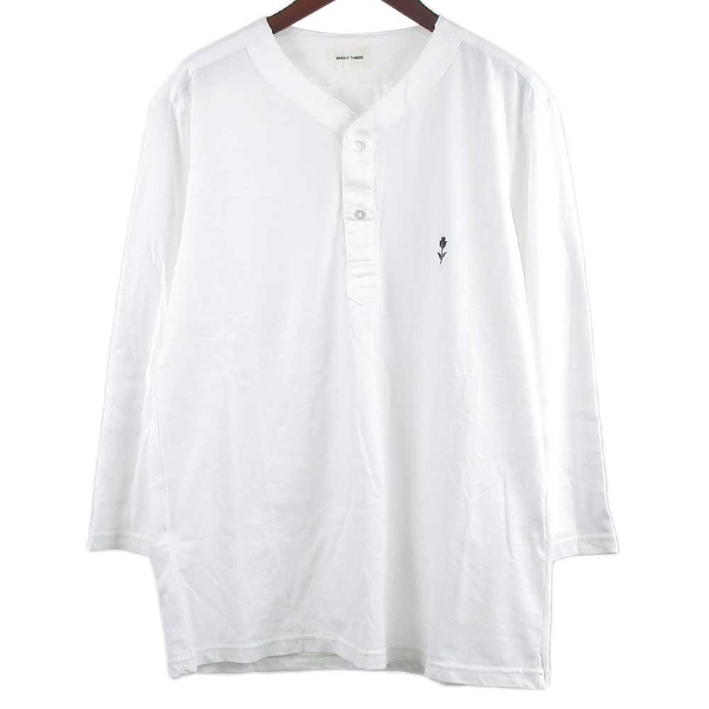 胸元ローズ ワンポイント刺繍ヘンリーネック7分袖カットソー Tシャツ
