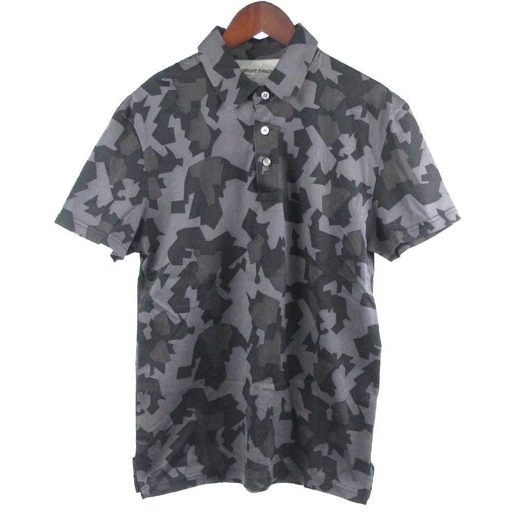 幾何学模様総柄半袖ポロシャツ