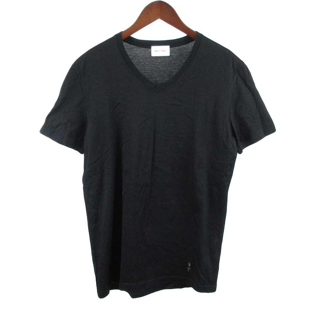 裾ローズブランド刺繍Vネック半袖カットソー
