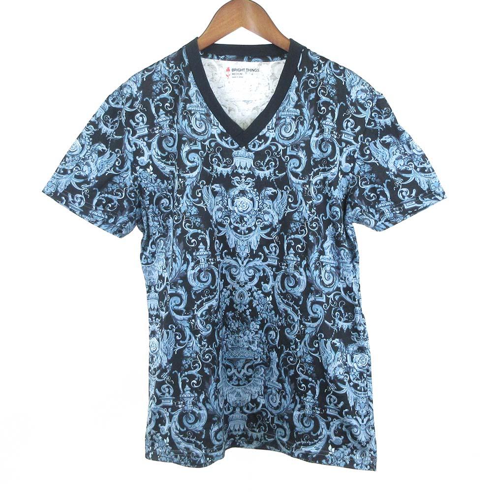 クラウン総柄Vネック半袖Tシャツ×ブルー