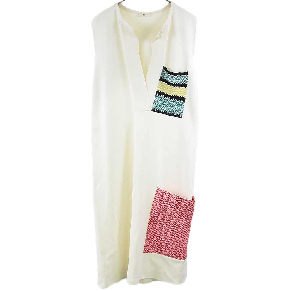 刺繍ポケットデザインベルテッドノースリーブワンピース
