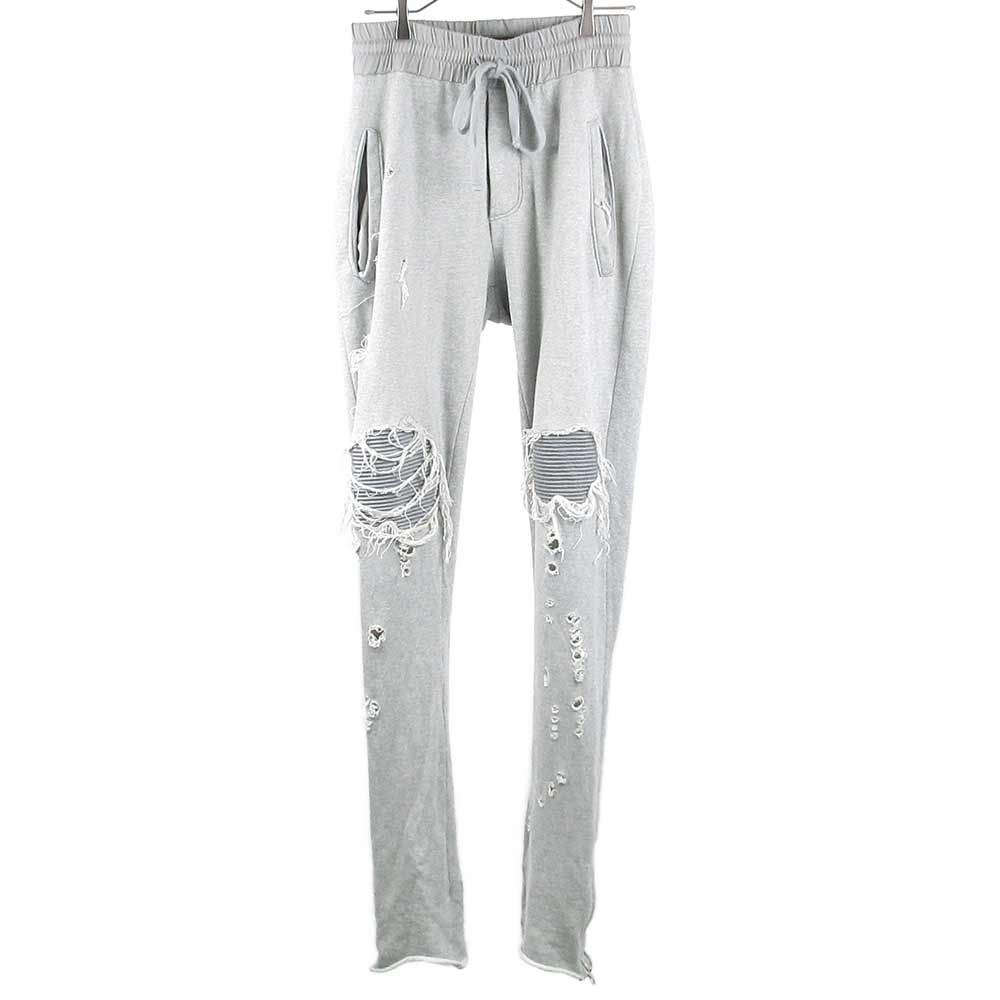 MX1 SWEAT PANTS ショットガンダメージ加工バイカークラッシュ裾ジップ スウェットパンツ
