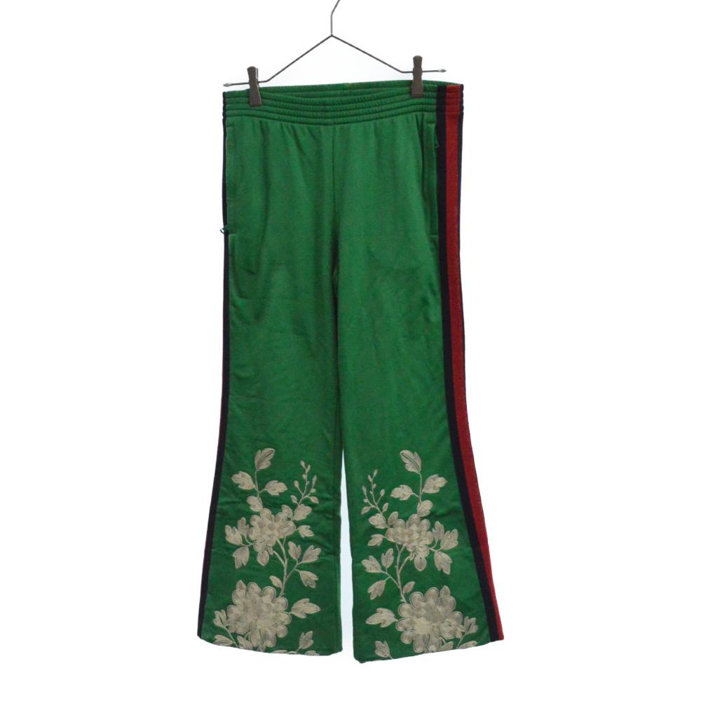 エンブロイダリー 刺繍 花柄 ジャージパンツ トラックパンツ