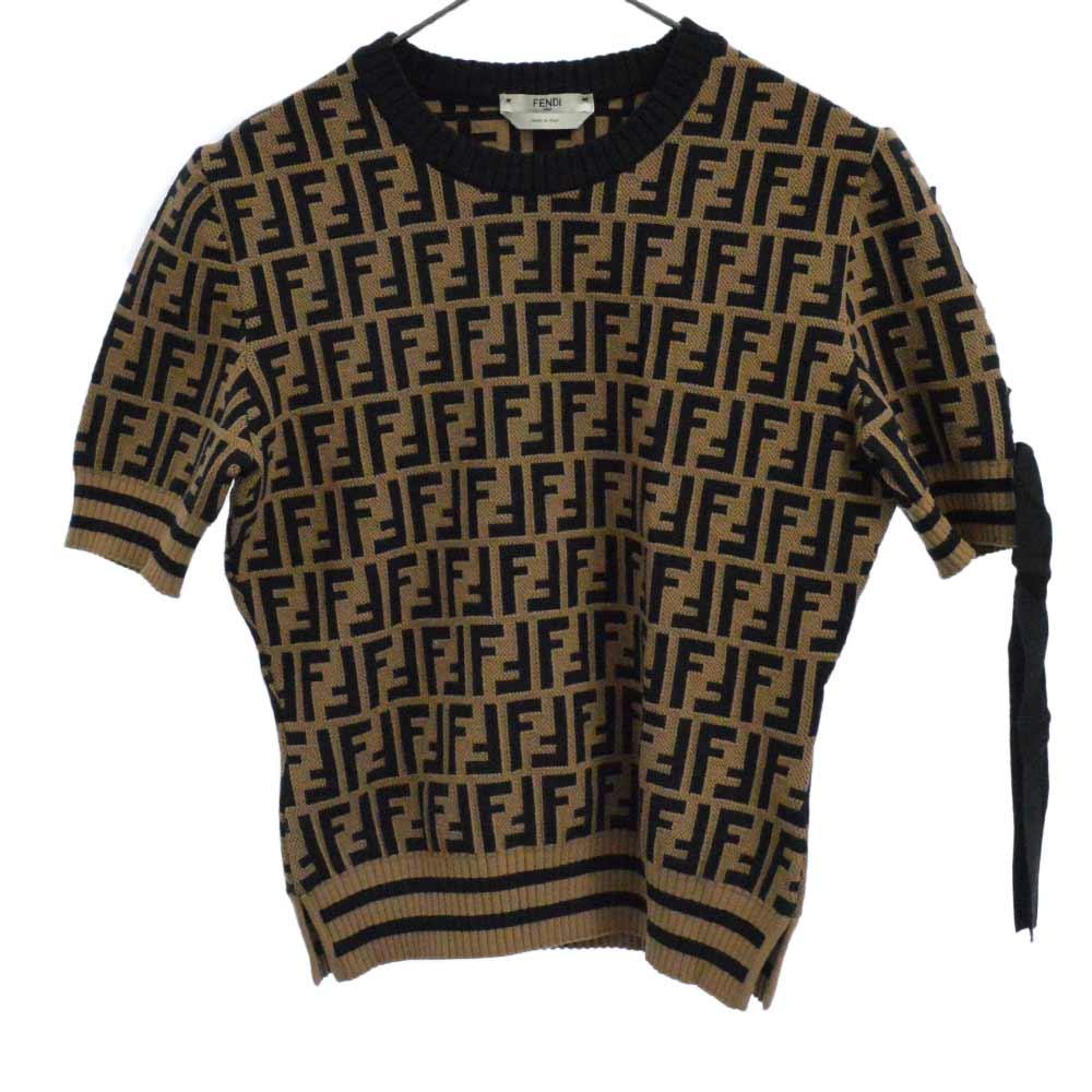 ロゴ半袖ニットセーター