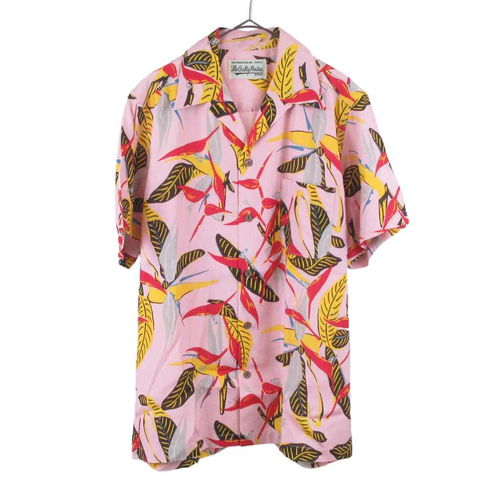 トロピカルアロハレーヨン半袖シャツ ピンク
