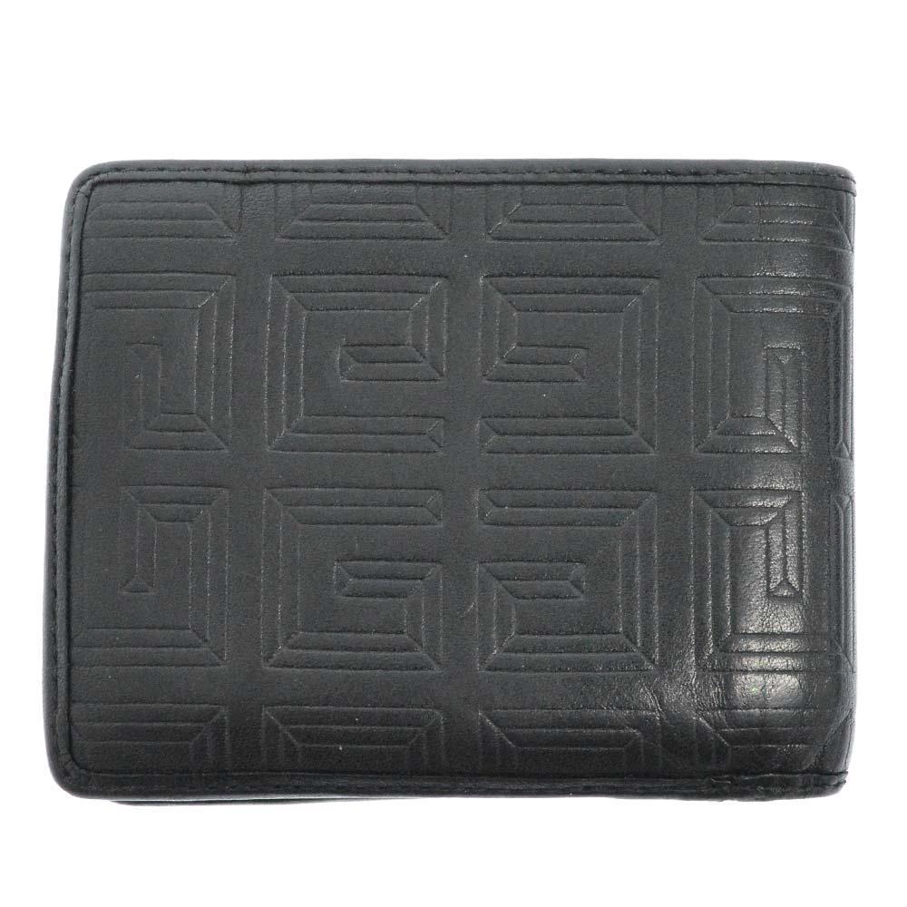 ロゴ総柄エンボス加工 レザーウォレット 二つ折り財布