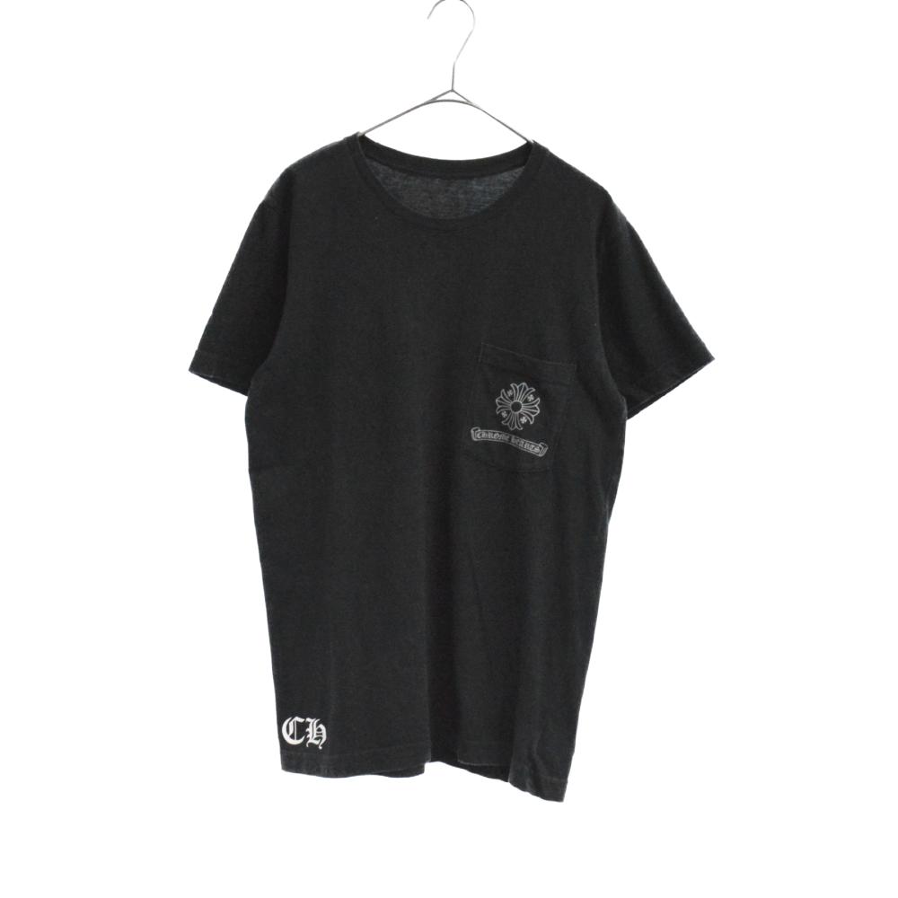 胸ポケット付CHプラスクロスバックプリント半袖Tシャツ