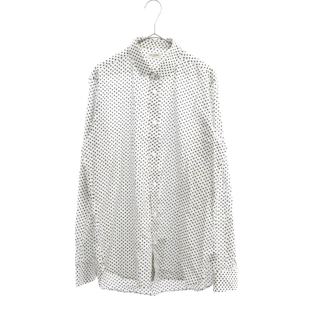 311386 YUP26 ハートドット総柄ロングスリーブドレスシャツ 長袖