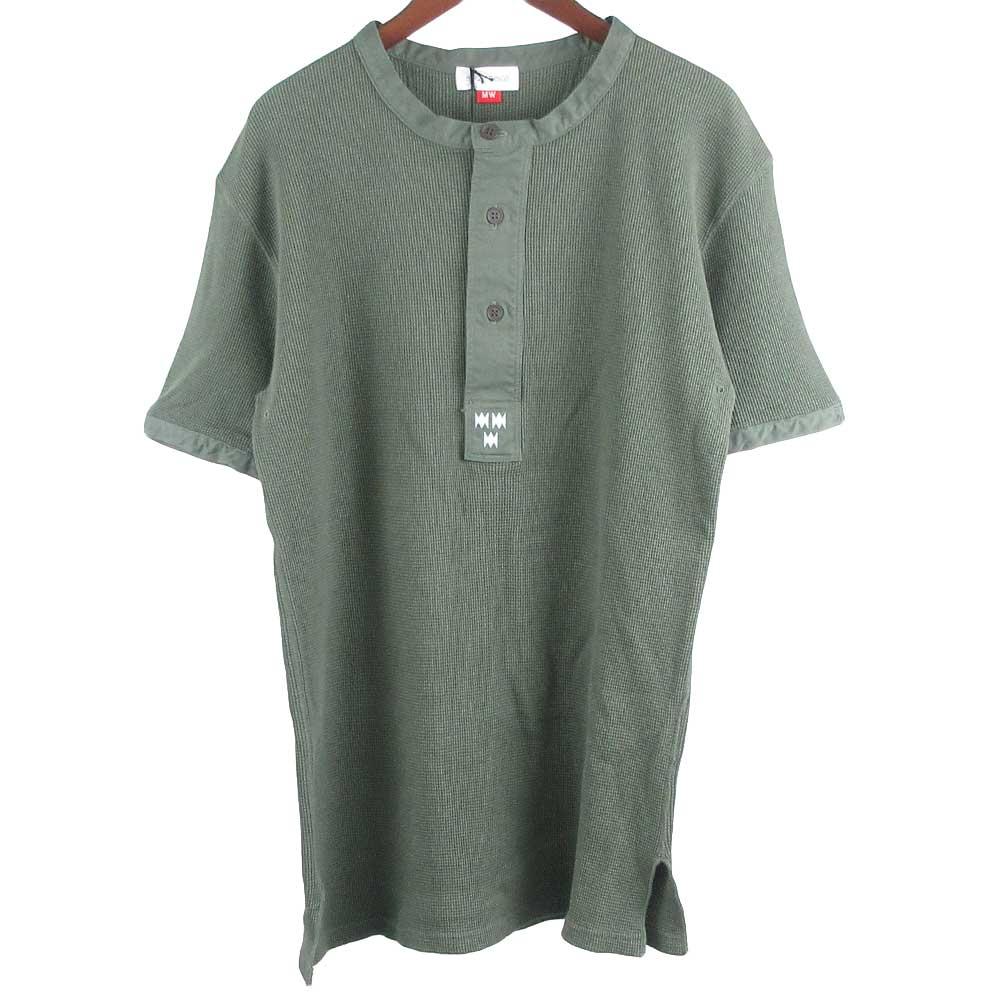 ヘンリーネックワッフル半袖カットソー Tシャツ