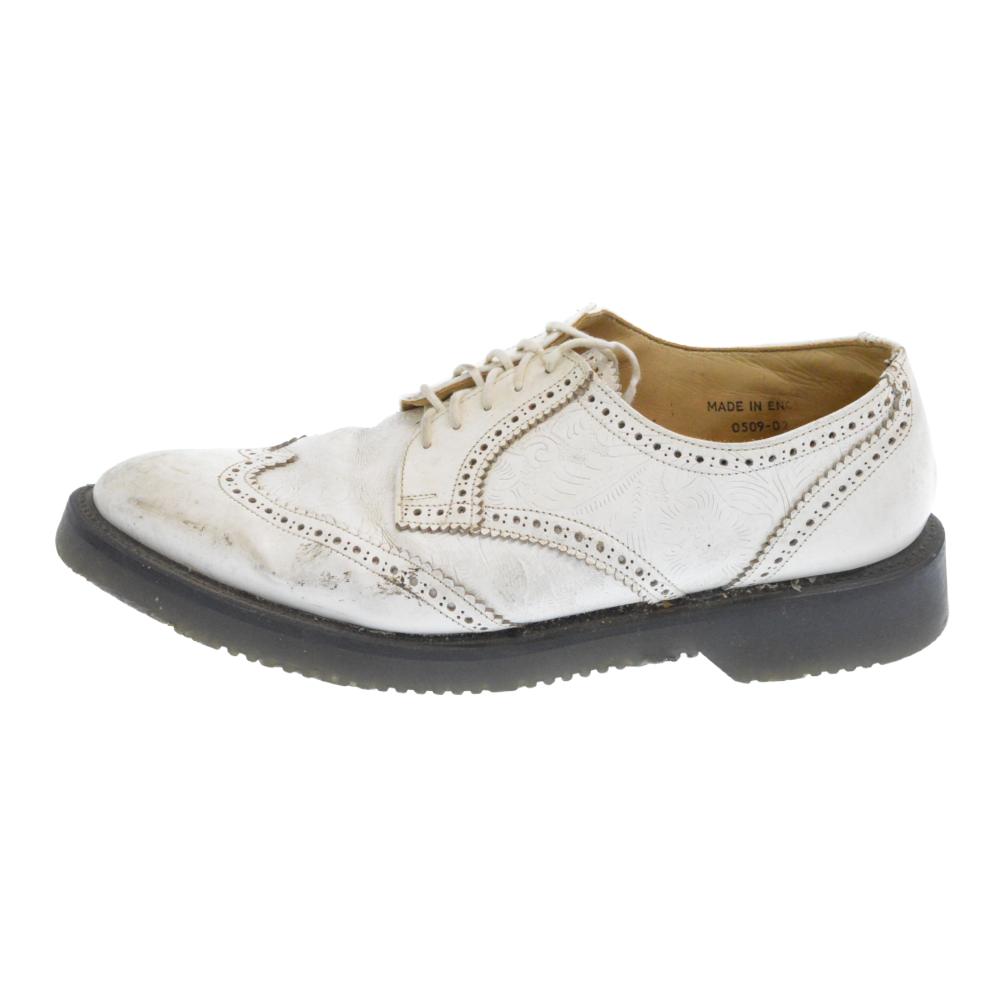 ×GEORGE COX ジョージコックス フラワーカービングデザインウイングチップシューズ 革靴 メダリオン