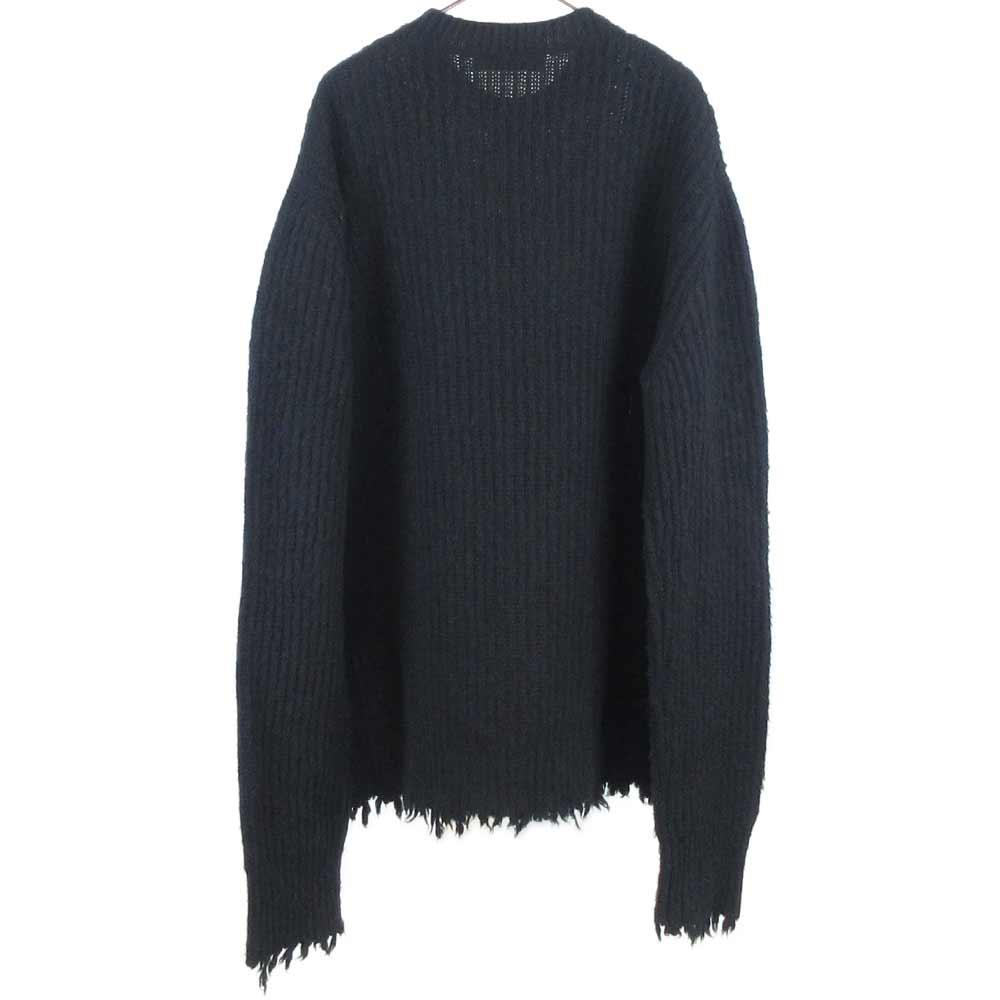 フリンジ加工クルーネックニットセーター
